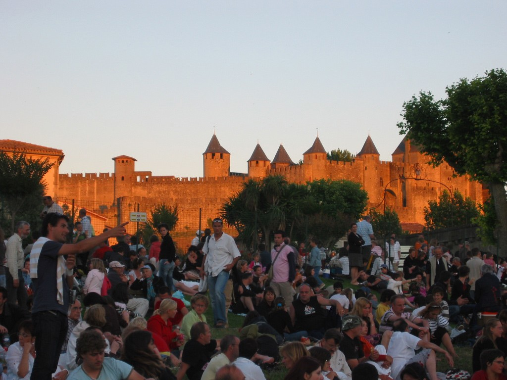 Anticipating Bastille day fireworks at Carcassonne mediaeval cite